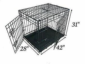 Ellie-Bo Dog Puppy Cage, Extra Large 42 Inch, Folding 2 Door Crate,Non Chew Tray