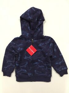 Hanna Andersson boys top hoodie sweat zipped jacket navy sharks RRP $47