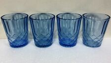 Set of 4 Depression glass Aunt Polly Blue Tumblers by U. S. glass