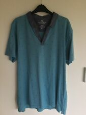 Men's T Shirt in Turquoise with Denim Effect Trim- Size XL