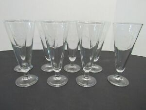 """Set of 8 Vintage Pilsner Glasses ~ 9 1/8"""" Tall, Etched with a Lovely Initial """"S"""""""