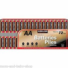 KIRKLAND SIGNATURE BATTERY AA 1.5V ALKALINE BATTERIES SEALED NO MERCURY 72 PACK