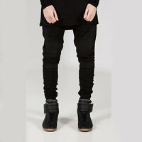 New Classic Men's Slim Fit Straight Biker Jeans Trousers Casual Fashion Pants