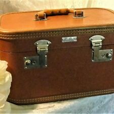Vintage Brown Leather-Look Mirrored Vanity Case Home Accents Collectible