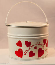 "Metal Valentine Day Storage Can with Red Hearts ""I Love You"" New 4.5"" Directive"