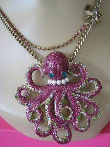 BETSEY JOHNSON SEA EXCURSION LARGE PINK GLITTER OCTOPUS STATEMENT NECKLACE~RARE