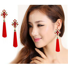 Fashion Women Bohemia Red Crystal Silk Tassel Fringe Dangle Ear Stud Earrings