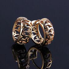 Elegant 18 k Gold Plated Hollow Small Hoops Earrings for Women Girl E308