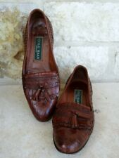 Cole Haan Women's Brown Woven Leather Croc Slip-On Loafers Tassel Size 6 1/2 AA