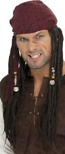 Mens Long Beaded Dreadlock Bandana Pirate Rasta Fancy Dress Costume Outfit Wig