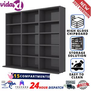 CD Rack Organizer Book Cabinet Open Shelf Display Stand Bookcase High Gloss Grey