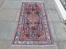 Vintage Hand Made Traditional Oriental Wool Blue Small Rug Short Runner 178x96cm