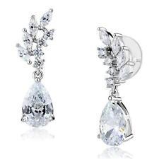 3W1282 PEAR MARQUISE DANGLE DROP  EARRINGS SIMULATED DIAMONDS CLEAR