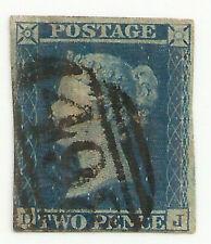 1844 QV 2d blue plate 3 (DJ) 498 Manchester numeral pmk