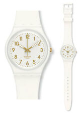 Swatch White Bishop Watch GW164 Analogue Silicone White