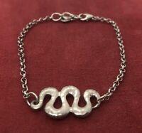 """Vintage Sterling Silver Bracelet 925 7.5"""" Snake"""