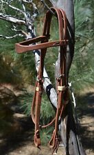 """Jose Ortiz 5/8"""" Working Harness Leather Shape Browband Headstall Tie Ends"""