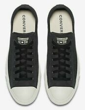 RRP£75 Converse Chuck All Star SUEDE LEATHER Black Dark Grey White Low Tops SALE