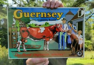 OLD VINTAGE GUERNSEY BREED HEAVY METAL PORCELAIN SIGN FARM FARMING COW COWS