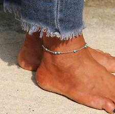 ☆ Silberne Fußkette Damen | türkise Perlen Länge 20-26cm | Silber Edelmetall ☆
