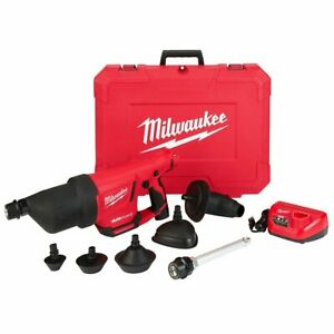 Milwaukee 2572B-21 M12 12V Airsnake Drain Cleaning Air Gun Kit w/ Attachments