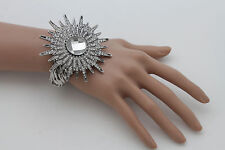 Women Silver Metal Sun Rhinestones Flower Fashion Cuff Bracelet Jewelry Beads