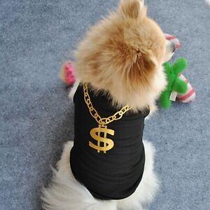 Mr. Money Sign Print Dog T-Shirt Small