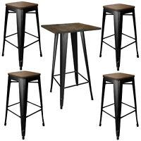 AmeriHome Loft Glossy Black Pub Set with Wood Tops - 5 Piece
