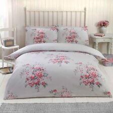Maisie ROSES FLEURS SET Housse de couette double Parure de lit réversible - Gris