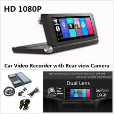 "7"" Android Wifi Dual Lens Car GPS DVR Camera Video Recorder w/ Rear View Camera"