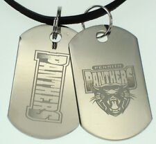 Penrith Panthers NRL Mens Double Dog Tag S/s Leather Necklace Jewellery