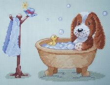 CL105 Arthur's Bath (Puppy) Counted Cross Stitch Chart by Genny Haines