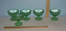 5 GREEN Depression GLASS SHERBET Dishes or Cups