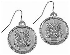 "Etruscan Janus Earrings, Silver Plate over Pewter 0.75"" Diameter"