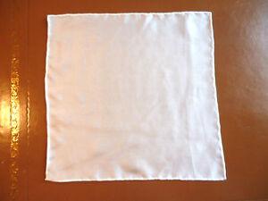 Lightweight mens silk top pocket handkerchief Creamy white Generous size  NEW