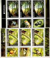 ROMANIA EUROPA 2011 - FOREST- 2 STRIPS OF 3 STAMPS WITH DIFERENT TABS !!!!