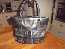 Tommy hilfiger black leather medium size tote handbag