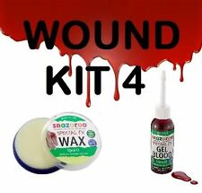 WOUND KIT 4, SNAZAROO FX WAX & GEL FAKE BLOOD,SCARS & WOUNDS,HALLOWEEN MAKEUP