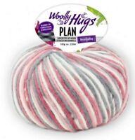PLAN 100g Woolly Hugs mit dem Karo-Effekt Fb. 81 natur grau pink  rosa