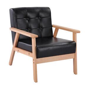 1Stück Retro-Design Sessel Polstersessel Kunstleder Lounge Sessel mit Massivholz