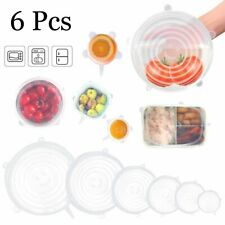 6pcs Reusable Silicone Stretch Lids Wrap Bowl Seal Cover Keep Food Fresh Clear