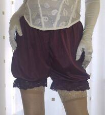 Vintage inspired dark purple silky nylon gusset frilly bloomers knicker panties