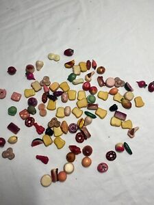 Vintage Tiny Wooden Play Food Size: Each Piece Is About 1 Inch By 1 Inch, Unique