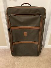 "Longchamp 28"" Boxton Green Brown Leather Wheeled Suitcase $795 Retail"