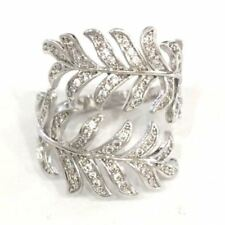 Handmade .75 Ct Diamond Leaf Feather Ring Women Jewelry Gift