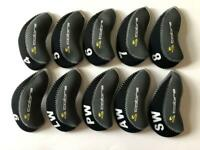 10PCS Golf Iron Covers RH for Cobra Club Headcovers 4-LW Universal Black&Gray