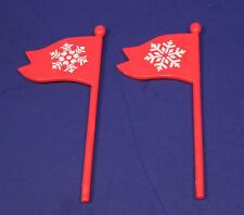 Mr Christmas Replacement Part - Santa's Ski Slope - Pair of Snowflake Flags