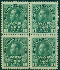 CANADA #MR1 1¢ War Tax Stamp, Block of 4, og, NH, VF