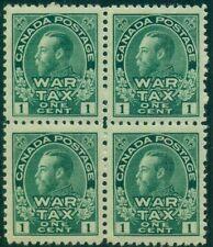 CANADA #MR1 1¢ War Tax Stamp, Block of 4, og, NH, VF