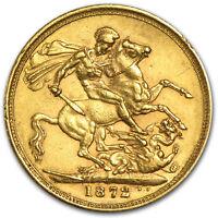 1871-1885 Great Britain Gold Sovereign Young Victoria Avg Circ - SKU #49475